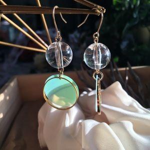 Jewelry - LAST PAIR! Clear orbits circle drop earrings